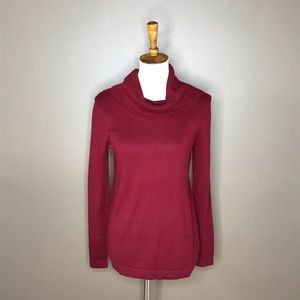 Loft Red Wine Cowl Neck Sweater Small